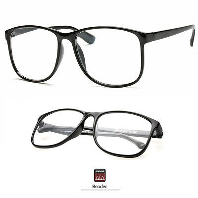 Retro  Large Oversized Clear Lens Reading Glasses Various Strength Black