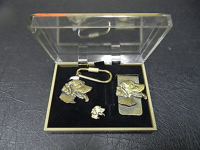 English Setter Brass Key Ring, Money Clip and Tie Tac Set