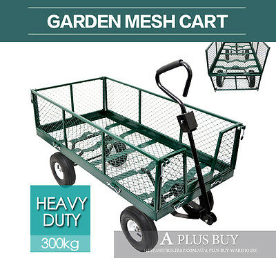 New Folding Garden Mesh Side Load Towed Cart Trolley Trailer Barrow Handle L