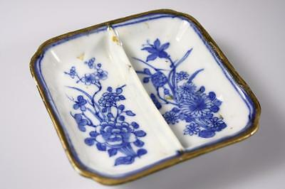 Antique Chinese Qing Dynasty Blue And White Divided Dish