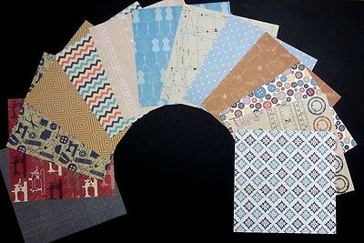 "*SEW HAPPY*  Scrapbooking- - Cardmaking Papers x 13 - 15cm x 15cm - (6 ""x 6"")"