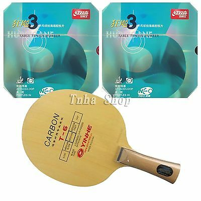 Galaxy T-6 Blade with 2x DHS NEO Hurricane3 Rubbers for a Table Tennis Racket