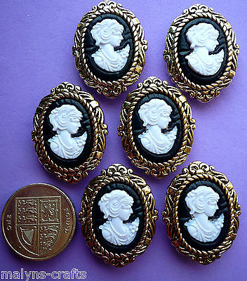 LARGE CAMEOS Victorian Style Plastic Craft Buttons Gold Novelty Vintage Lady