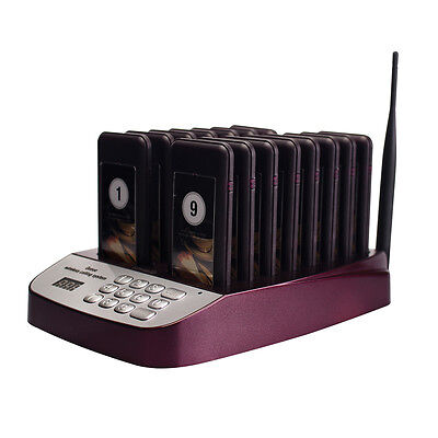 New Restaurant Wireless Paging System 999 CH w/ 16 Call Coaster Pagers 433.92MHz