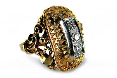Ring etruskische Granulation Brillanten Wesselton/vs 585 Gold [BRORS 12959]