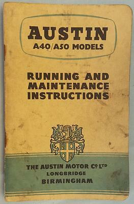 Vintage Austin A40/A50 Running and Maintenance Instructions - January 1955