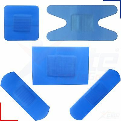 Qualicare 100 x Assorted Blue Catering Plasters Detectable Adhesive Dressings