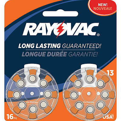 Rayovac Type 13 Hearing Aid Batteries, 16-Pack