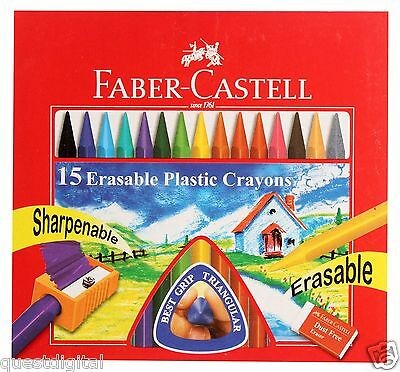 15 Faber-Castell Plastic Coated Wax Crayons Non Toxic Child Safe Assorted Colour