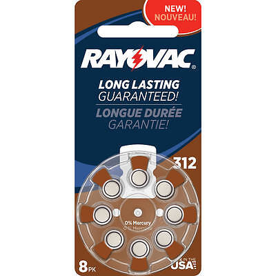 Rayovac Type 312 Hearing Aid Batteries, 8-Pack