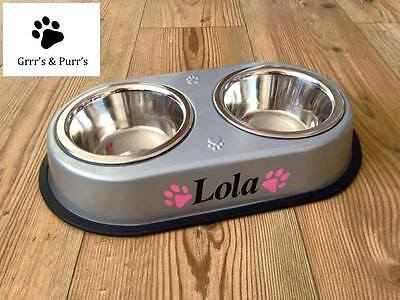 Dog Cat Puppy Pet Personalised Double Feeder Bowl Pink Blue Paws Small/Med/Large