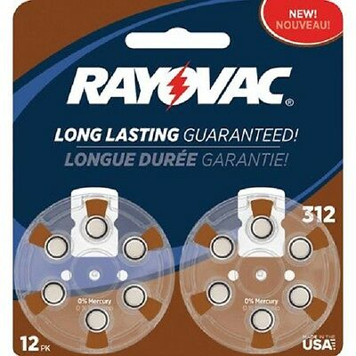 Rayovac Size 312 Mercury-Free Hearing Aid Batteries, 12-Pack
