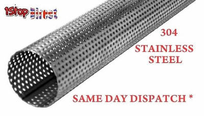 """Stainless Steel Perforated Tube All Sizes Lengths Exhaust Repair Silencer 1""""-4"""""""
