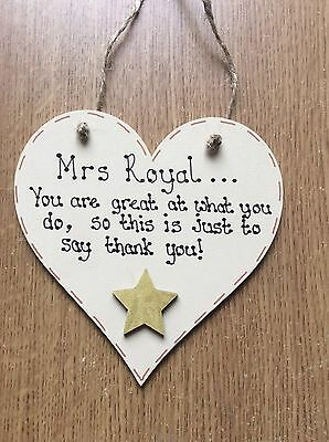 Personalised Thank You Teacher Gift Wooden Heart Plaque Shabby Chic