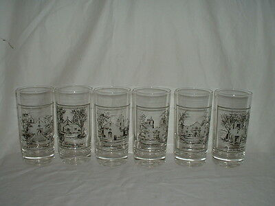 6 Vintage Humble Oil Promotion Mission Glasses/Tumblers Never Used