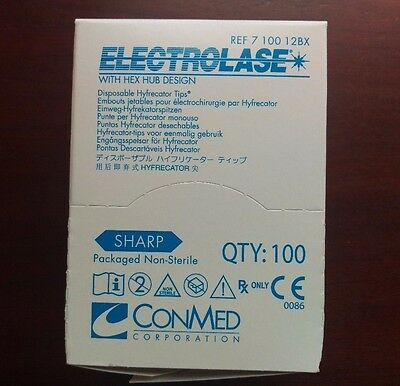 CONMED ELECTROLASE Disposable HYFRECATOR Tips #7-100-12BX NEW/SEALED 100/BX