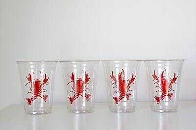 4 Disposable Clear Plastic Lobster Crawfish Cups Free Shipping