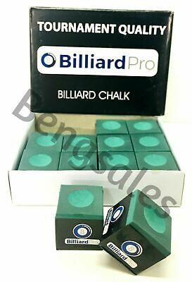 """12 Pieces 1 """"BOX"""" of GREEN Snooker or Pool Cue Tips Chalks - TORNAMENT QUALITY"""