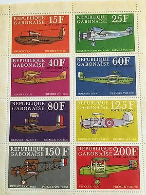 Sheet Of 8 Gabon Air Post Stamps: Pioneers Of Aviation, Claude Dornier 1970