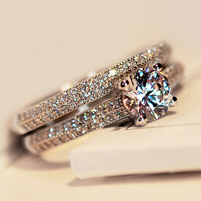Women Lady's Sterling Silver White Gold Filled Engagement Ring Fashion Jewellery