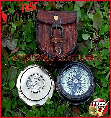 Vintage Robert Frost Brass and Copper Poem Compass with Leather Case RD377