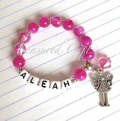 Personalised Pink Fairy Child Name Bracelet with Fairy Charm, Party Favour