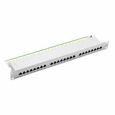 "19"" Patchpanel Cat.6 250MHz 24-Port 1HE RJ45 geschirmt grau 1GB LAN ProfiPatch"