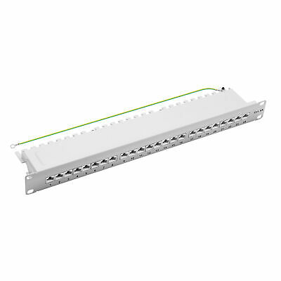 "Patchpanel Cat.6A 500MHz 24-Port RJ45 geschirmt 19"" 1HE grau 10GB LAN ProfiPatch"