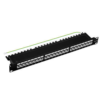"19"" Patchpanel Cat.6A 500MHz 24-Port 1HE RJ45 geschirmt schwarz 10GB ProfiPatch"