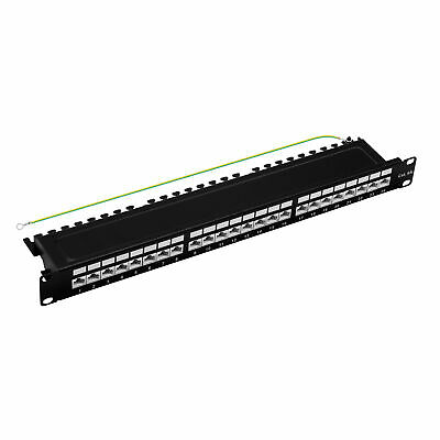 "Patchpanel Cat.6A 500MHz 24-Port RJ45 geschirmt 19"" 1HE schwarz 10GB ProfiPatch"