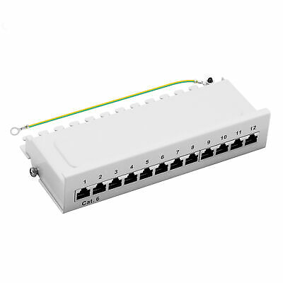 Patchpanel Cat.6 250MHz 12-Port geschirmt Desktop Aufputzmontage 1HE grau 1GB