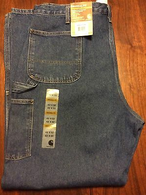 Carhartt Double Front Washed Logger Dungaree Pants 42 X 32 Denim New