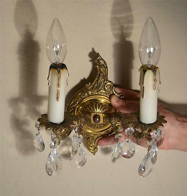 Vintage Electric Double Candle Cast Brass Wall Sconce w/ Glass Prisms