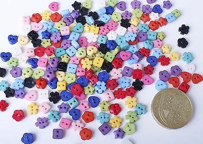 200x Mini Shapes Assorted Colour Buttons Star Heart Flower Embellishments