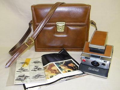 Vintage POLAROID CAMERA - SX 70 LAND CAMERA with CASE/KEY and MANUAL