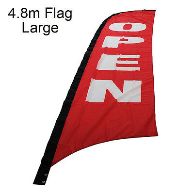 4.8m OPEN Flag / Outdoor OPEN Flag / Feather Flag / Flag Banner (Flag Only)