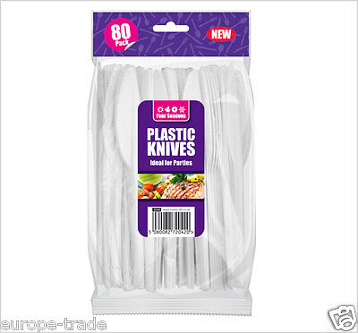 Strong White Plastic Knives Disposable Set 80 Cutlery Party, BBQ, Wedding