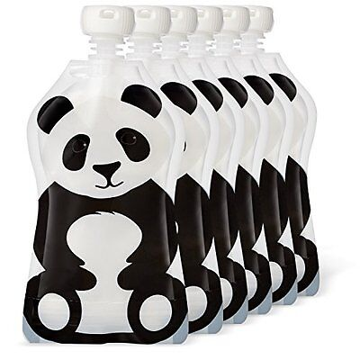 Squooshi Reusable Food Pouch | Panda 6 Pack | Refillable Squeeze Pouches for of