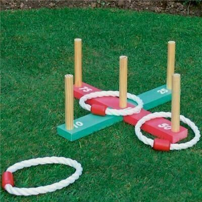 New Garden Quoits Rope & Wooden Pegs Hoopla Garden Game Outdoor Family Game Fun