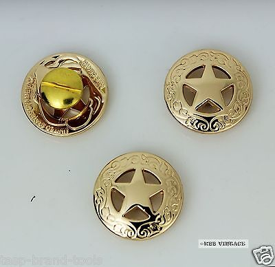3Pc 28mm Solid Brass Western Texas Star Conchos Leathercraft stud Punk screw