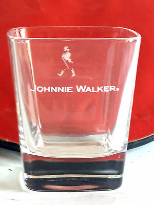 Johnnie Walker Whisky Glass Advertising Rocks Square Glass White Logo 9.5cm Prom