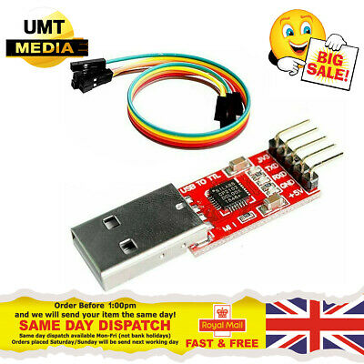 USB to TTL CP2102 UART Module 5Pin Serial Convertor 5v 3.3v + FREE Cables