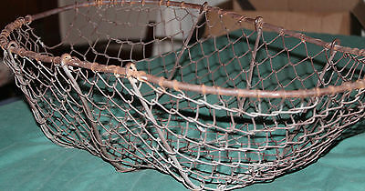 Vintage Metal Wire Potato Basket w/ Handles Rustic Farmhouse Farm Garden 1950s