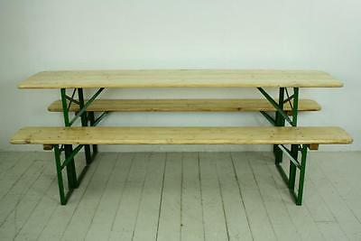 Vintage Industrial German Beer Table Bench Set Garden Furniture Blonde Finish