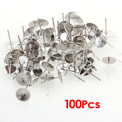100 Silver Tone Flat Pad Earring Posts Studs DIY 8mm HOT BF
