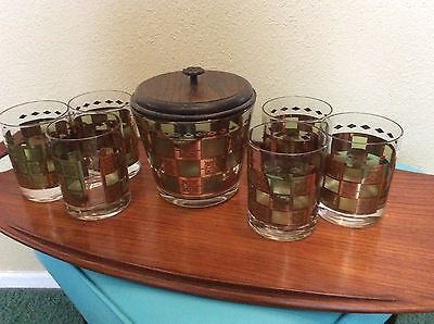 Mid Century Vintage Glass Ice Bucket & 6 Glasses Green w/ 22KT Gold Accents
