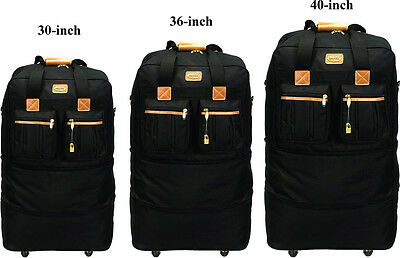 """30"""" /36"""" /40"""", Black Expandable Rolling Wheeled Duffel Spinner Suitcase Luggage"""