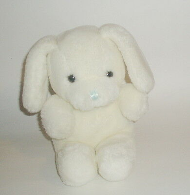 Russ Berrie Vintage DOZEY White Plush Stuffed Puppy Dog Rattle Blue Nose # 7753