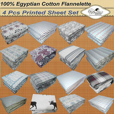NEW QUEEN Size BED 100% EGYPTIAN Cotton FLANNELETTE / FLANNEL 4Pcs Bed Sheet Set