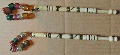 2 ANTIQUE BOVINE BONE LACE BOBBINS with ORIGINAL COLOURED SPANGLES (R5)